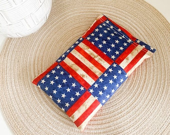 Herbal Heating Pad for Migraines, Period Cramps, Muscle Aches, Back Pain | American Flag Print | Flaxseed and Lavender Herbal Heating Pad