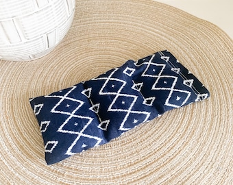 Herbal Eye Pillow for Migraines, Headaches, and Sinus Issues | Navy Blue Print | Small Herbal Heating Pad