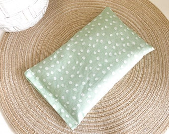 Mint Green Herbal Heating Pad for Migraines, Period Cramps, Muscle Aches, Back Pain | Flaxseed and Lavender Herbal Heating Pad