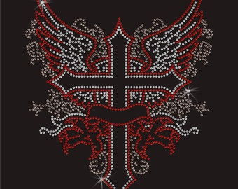 Cross Wings Rhinestone Diamanté Transfer Hotfix iron on motif