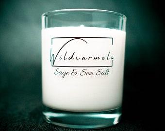 Sage & Sea Salt scented Soy Candle  - 100% Vegan