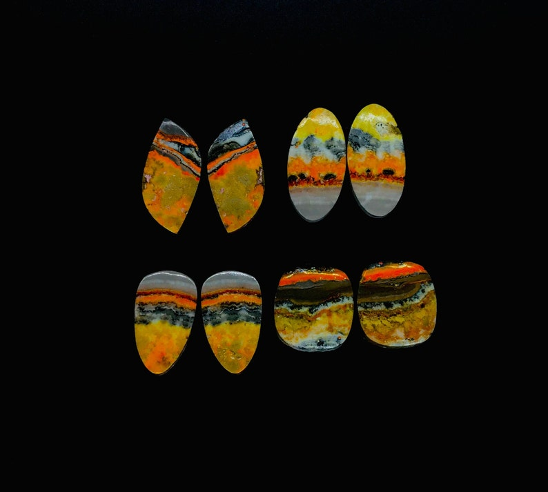 Dazzling Top Grade Quality 100/% Natural Bumble Bee Jasper Rectangle Shape Cabochon Gemstone Pair For Making Earrings 35 Ct 23X12X4mm JMK7406