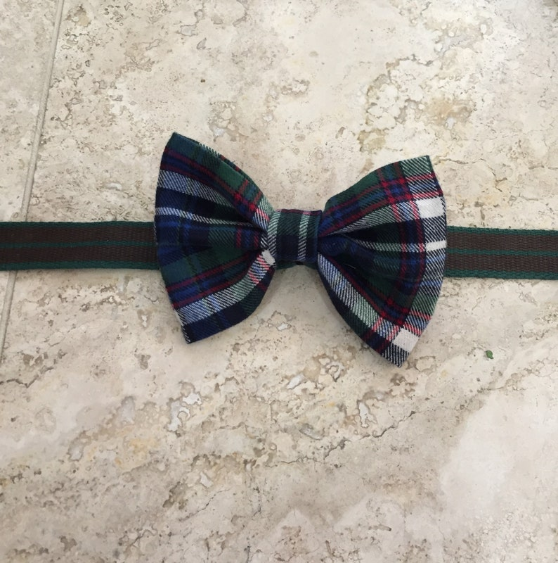 Dog Bow Tie \u2013 Pet Bow Tie; BlueGreen Plaid Bow Tie; Adjustable strap on collar; Gift Under 20; Made in Canada