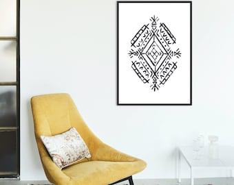 Berber Motif Print, Boho Art Print, Printable Wall Art, Digital Art Download, Simple Wall Print, Bohemian Wall Art