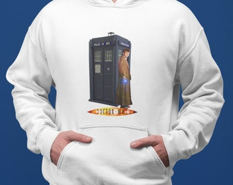 10th Doctor Who David Tennant and the Tardis White Adult Unisex Hoodie