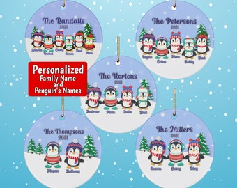 Personalized Penguin Family Christmas Ornament with FREE SHIPPING, Customizable Ceramic Ornament, Personalized Christmas Ornament