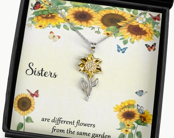 Sisters Sunflower Necklace Message Card, Beautiful Gift for Sister