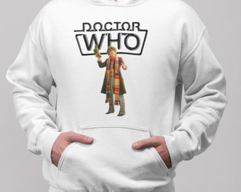 4th Doctor Who Tom Baker White Unisex Hoodie, Gift For Any Doctor Who Fan