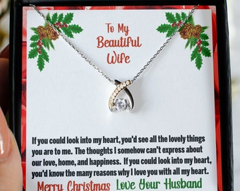 To My Beautiful Wife Wishbone Necklace With Message Card Keepsake, 925 Sterling Silver With Cubic Zirconia Pendant and Silver Necklace