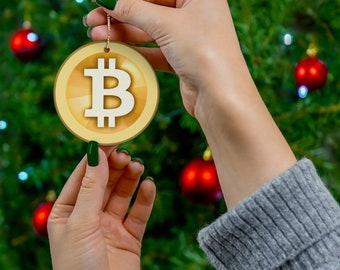 Bitcoin Cryptocurrency Ceramic Ornaments,  Bitcoin Crypto Coin Logo Christmas Decoration