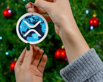 Limited Edition XRP-World Cryptocurrency Ceramic Ornaments, XRP-World Crypto Coin Christmas Decoration