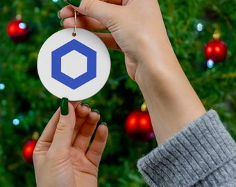 Chainlink Cryptocurrency Ceramic Ornaments,  Chainlink Crypto Coin Logo Christmas Decoration