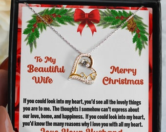 To My Beautiful Wife Love Necklace With Message Card Keepsake, 925 Sterling Silver With Cubic Zirconia Pendant and Silver Necklace for Wife