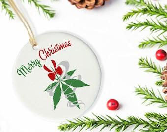 Merry 420 Christmas Ornament, Cannabis Mistletoe Ceramic Ornament