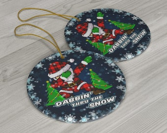 Santa Dabbin' Thru The Snow Ceramic Christmas Ornament