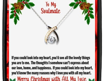 To My Soulmate Wishbone Necklace With Message Card Keepsake, 925 Sterling Silver With Cubic Zirconia Pendant and Silver Necklace for Wife