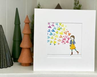 She Radiated Love (Matted Watercolor Print - 5x5 Print in 8x8 Signed Mat)