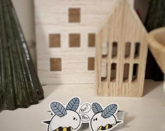"Boo Bees - 3""x1.5"" Vinyl Sticker"