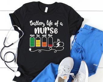 Battery Life of A Nurse Shirt, School Nurse Shirt, Nurse Life Shirt, Nurse Shirt, Nursing Student, Funny Nurse Shirt, Nursing Graduate