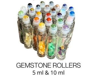 24 GEMSTONE TYPES! 10 ml & 5 ml Essential Oil Roller Bottles with Gemstone Chips and Rollerball - Choose Your Cap Color
