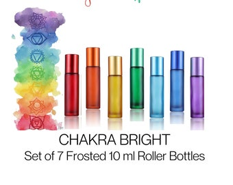 CHAKRA Set - 10 ml Roller Bottles - Chakra Color Essential Oil Bottles - Personalize Rollerball Choice & Crystal Chips