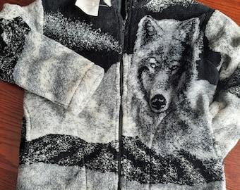 Vintage Fleece Jacket  Allover Wolf Print Jacket  Full Zip Jacket  Womens Size 3XL  Brown Black Jacket