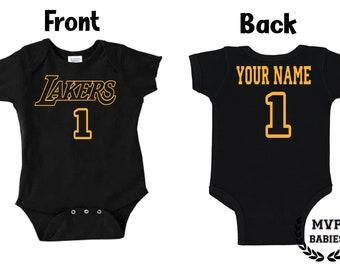 Los Angeles Lakers Homemade baby bodysuit.