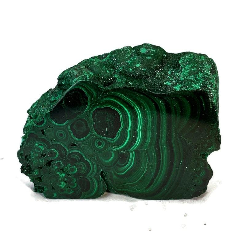Top Quality Malachite Slab w/ Shimmery Druzy 196 grams image 0