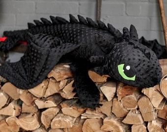 Dragon. Big dragon. Black. Soft toy. Train your dragon.