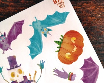 Stikers. Halloween. Funs. Pastel. Spooky edition. For fun. For kids.