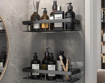 Bathroom Shelf Rack Kitchen Wall Shelves Bath Towel Holder Black Shower Storage Basket Kitchen Organizer Bathroom Accessories Black & Silver