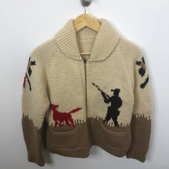 Vintage 50s Mary Maxim Cowichan Sweater S/M Hand K