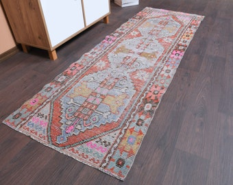 Hallway rug runner vintage Turkish rug oriental rug Turkish Small distressed rug 2.4x7.5 ft Vintage kilim Rug Runner Oushak rug runner