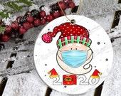 Nordic Gnomes, Tomte Nisse, Santa Claus Wears Maks, Christmas Tree, Round Ceramic Ornament, Christmas Ornament, Christmas Decoration