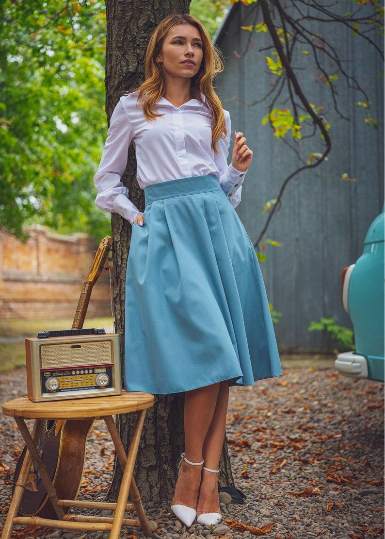 Cotton Blue Skirt