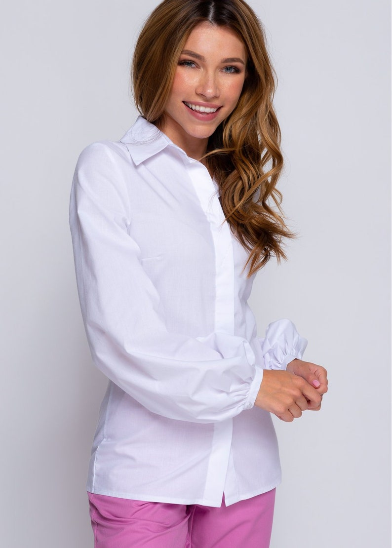 Puff Sleeves White Blouse
