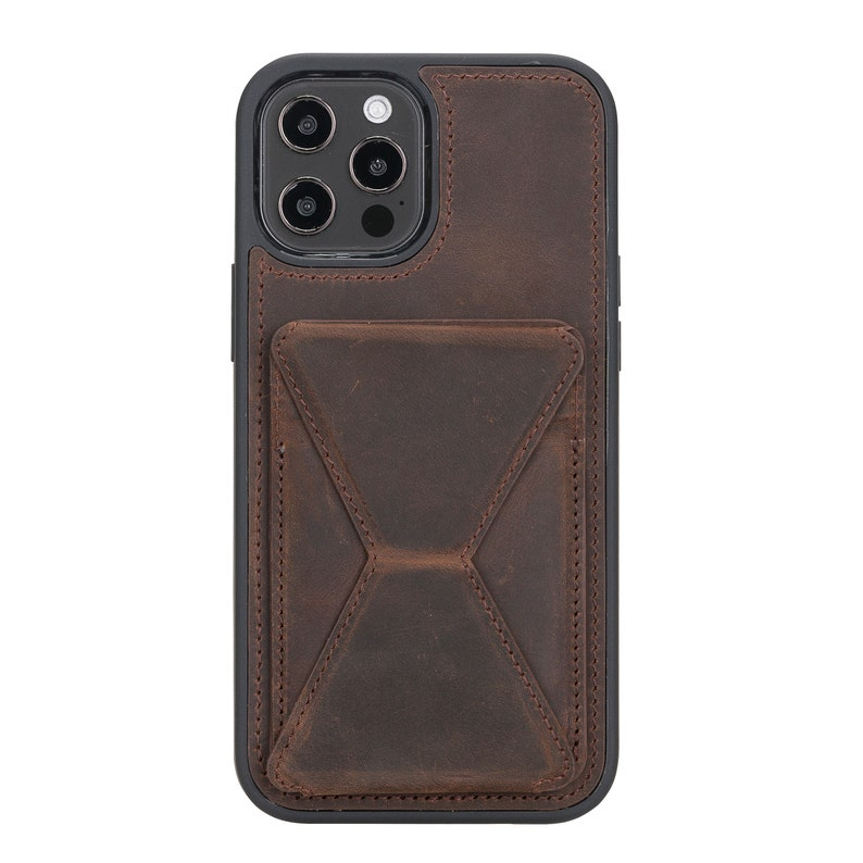 Personalizable Bayelon Genuine Leather Antique Brown Maggy Stand Cases for iPhone 1212 Pro 6.1
