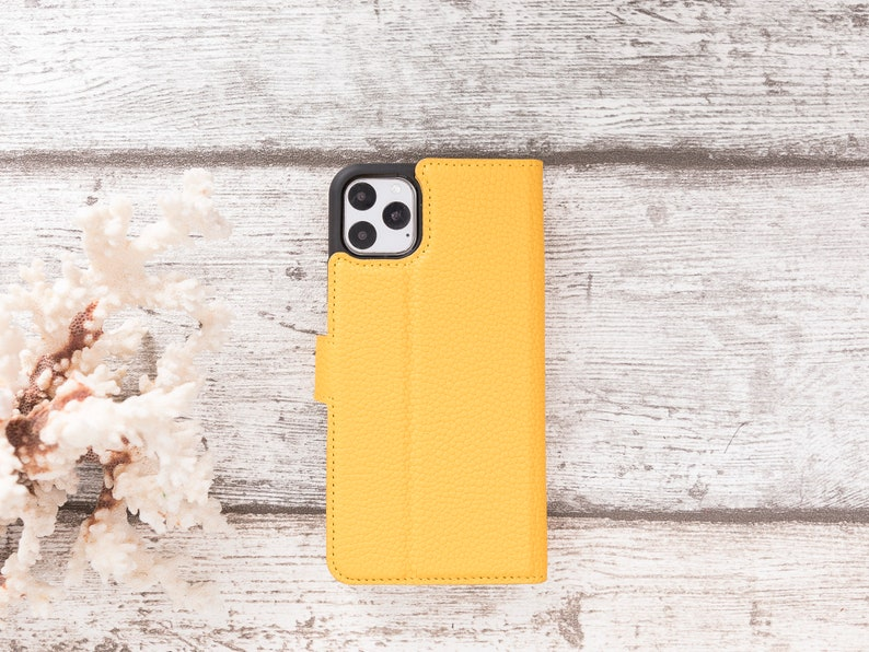Horizontal Stand Floater Yellow Personalized Bayelon Genuine Quality Leather Case with Card SlotsApple iPhone 11 ProMax 6.5,Wallet Case