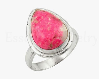 Natural Thulite Ring Handmade Ring-Beautiful Ring-Gift For Her Ring-Womens ring-Mom Gift 925 Sterling Silver Ring-Red Stone Ring