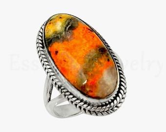 Oval Gemstone Bumble Bee Jasper Ring Twisted Bezel Bohemian Ring Yellow Gemstone 925 Sterling Silver Cabochon Gemstone Handmade Ring
