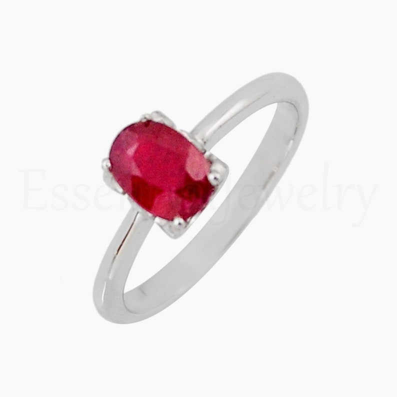 4 Silver Prong Set Faceted Gemstone Christmas Sale Simple Band Ring Oval Gemstone Sri Lankan Ruby Ring Boho Ring 925 Sterling Silver