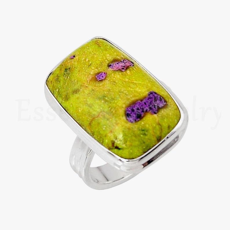 Cabochon Stone Sale Ring Statement Ring Natural Gemstone Beautiful Ring Baguette Gemstone Simple Band Ring Adamite Gemstone Ring