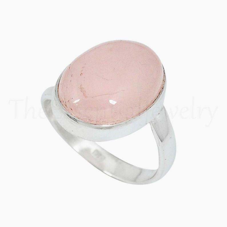 Artisan Ring Christmas Gift Rose Quartz Ring Simple Ring Oval Gemstone Ring Bohemian Handmade Ring 925 Sterling Silver Pink Stone