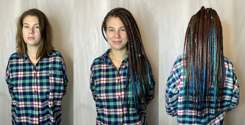 DE and SE Synthetic Dreads Extension Brown Turquoise Ginger  Dreads