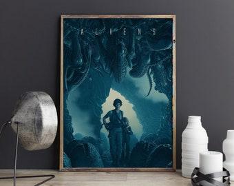 Alien Aliens 1980 Movie Xenomorph Poster Print, Retro Classic Movie Art Artwork, Illustration Wall Art, Home Decor, Ideal Gift Unframed