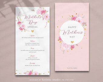 H007 Watercolor Floral Wedding Menus Printable Wedding menu Watercolor Dinner Menu Lunch Menu Custom Printed Wedding Menu