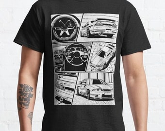Nissan GTR T-Shirt Mens Car Enthusiast Drifting Racing Top Blue Classic