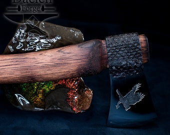 Forged Raven Etched Rasp Hatchet