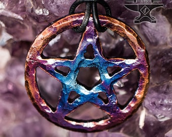 Fire Painted Pentacle Pendant