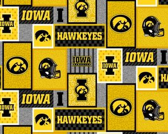 University of Iowa Fleece Fabric Sold by the Yard-Iowa Hawkeyes College Patch Fleece Blanket Fabric-SYKEL IA1177